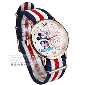 Disney 迪士尼 時尚卡通錶 Micky米奇 米老鼠帆布休閒造型錶 女錶 學生錶 紅x藍x白 DM米奇B-1