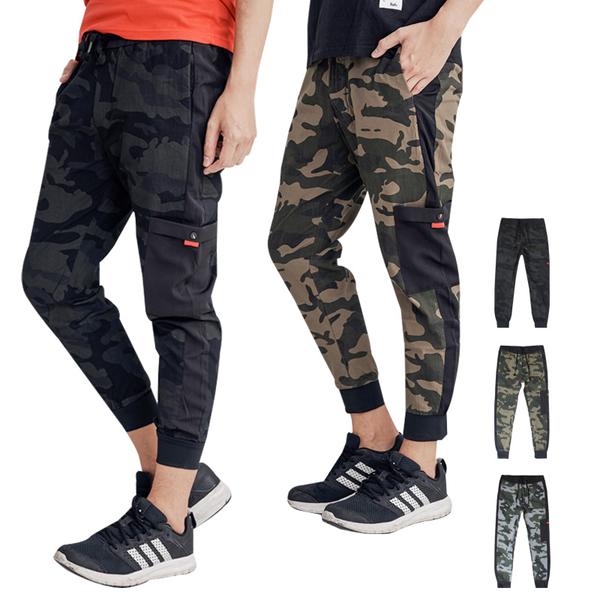 迷彩多口袋設計束口褲3色