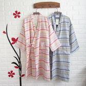 浴袍棉質紗布睡袍女夏季薄款浴袍男條紋汗蒸情侶開衫和風日式和服浴衣