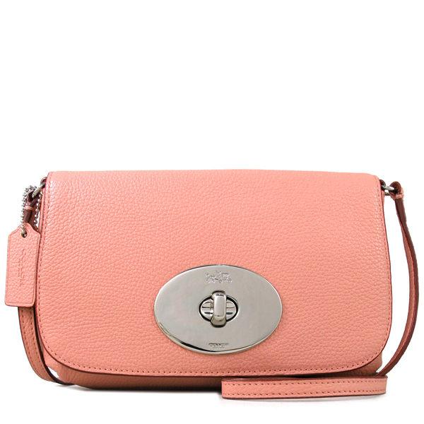 COACH 鵝卵石紋全皮革大旋扣包 翻蓋包 斜背包(蜜桃粉色)-52896