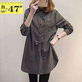 大尺碼襯衫--韓版精緻舒適蝴蝶結造型寬鬆長袖條紋襯衫(灰.藍XL-3L)-I123眼圈熊中大尺碼