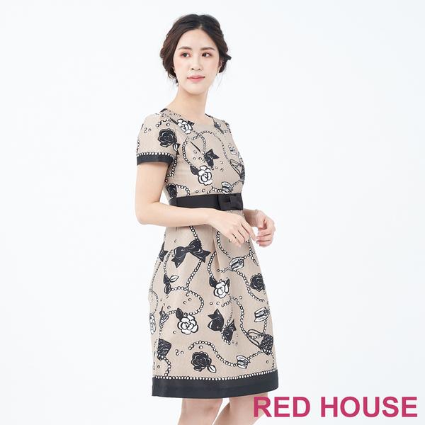 【RED HOUSE 蕾赫斯】印花短袖洋裝(共兩色)