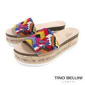 Tino Bellini 巴西進口異國風情繽紛珠飾麻編厚底涼拖鞋 _ 幾何 B83239 歐洲進口款