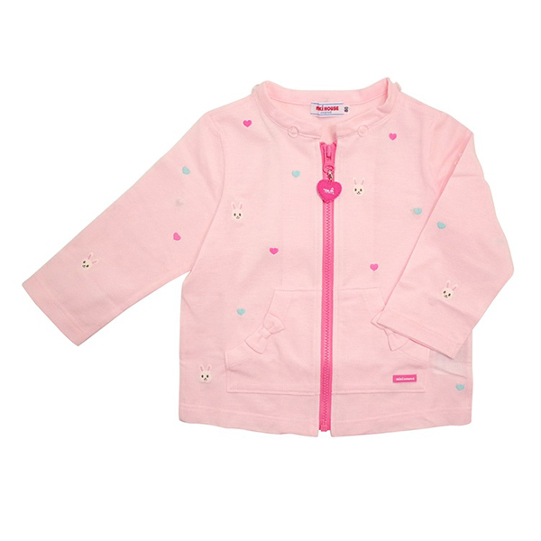 MIKI HOUSE 日本製 夏季抗UV滿版舞颯兔刺繡連帽透氣外套