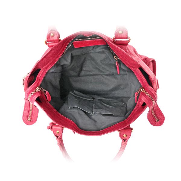 【BALENCIAGA】玫瑰金釦CITY機車包(紅色) 281770 D94JO 5765