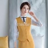 西裝馬甲女士2010春季黃色馬夾背心坎肩外穿外套職業正裝工作服 SUPER SALE 快速出貨
