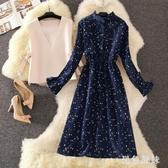長袖連身裙娃娃裙女學生春秋新款法式復古燈芯絨打底裙兩件套 XN8937『黑色妹妹』