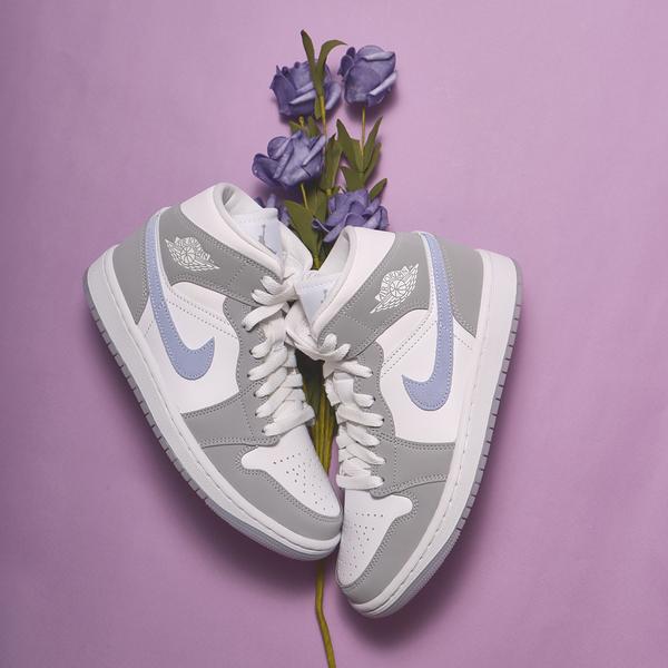 NIKE 休閒鞋 W AIR JORDAN MID 小DIOR 中筒 白灰 水藍 冰底 藍勾 果凍底 男女 (布魯克林) BQ6472-105