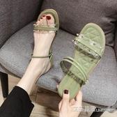 涼鞋涼鞋女仙女風ins潮夏季百搭時尚平底透明外穿網紅涼拖鞋 【快速出貨】