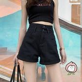 牛仔短褲女超高腰顯瘦夏季a字寬鬆超短褲齊腰【桃可可服飾】