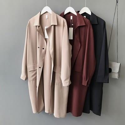 風衣外套-中長版時尚帥氣雙排扣寬鬆女大衣3色73oj14【巴黎精品】