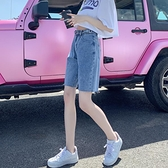 牛仔短褲女 高腰寬鬆五分褲夏季直筒港味寬管薄款潮ins日系5分中褲【八折搶購】