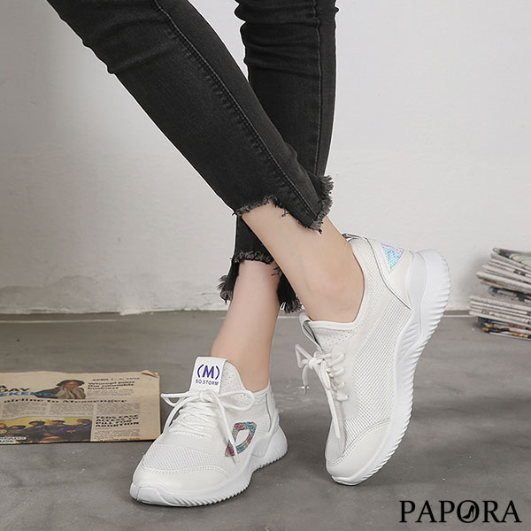 PAPORA休閒平底布鞋包鞋K087-1白/黑/粉