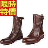 馬丁靴-真皮革尖頭潮流時尚中筒男靴子1色65d47[巴黎精品]