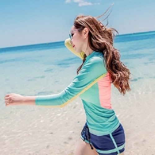 現貨★梨卡 - 韓版長袖防曬顯瘦條紋拉鍊外套短褲衝浪衣潛水服兩件式比基尼泳裝泳衣C923