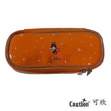 文具 鉛筆盒 袋 雙層 防水耐髒 Caution可欣 1036 陽光橘