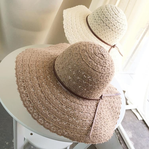 [協貿國際]蕾絲鏤空遮陽帽子棉大沿沙灘帽超夏折疊防曬帽1入