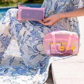 《J 精選》小型乾濕分離多功能半透明防水PVC手提海灘袋/運動袋/游泳袋