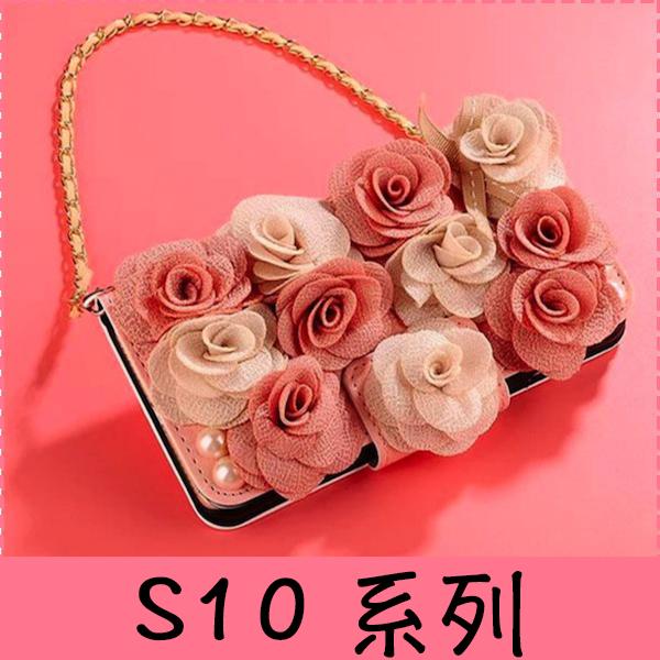 【萌萌噠】三星 Galaxy S10 S10+ S10e 立體高雅雙色玫瑰保護套 帶掛鍊側翻皮套 支架插卡 錢包式皮套