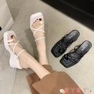 坡跟涼拖鞋羅馬涼拖鞋女外穿2021新款夏季坡跟時尚網紅黑色夾趾高跟一字拖夏 愛丫 免運