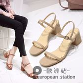 涼鞋/羅馬一字扣女夏中跟鞋粗跟高跟女鞋「歐洲站」