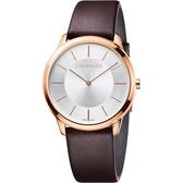 Calvin Klein CK Minimal極簡時尚腕錶-銀x玫瑰金框/40mm K3M216G6
