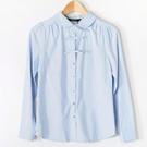【MASTINA】蝴蝶結彼得潘領襯衫-淺藍