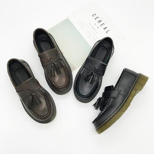 牛津鞋 春秋單鞋女樂福鞋女鞋復古流蘇英倫學生小皮鞋平底牛津鞋 爾碩 雙11
