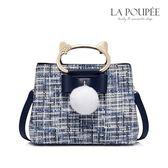 手提包 溫暖粗花呢貓咪提把毛球方包 2色-La Poupee樂芙比質感包飾 (現貨+預購)