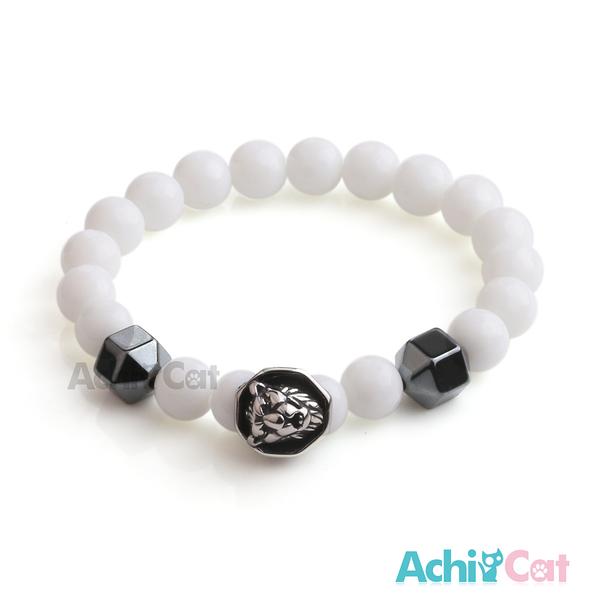 AchiCat 手鍊 串珠手鍊 虎膽龍威 黑膽石 瑪瑙手鍊 獅頭手鍊 珠珠彈性手環 A款 H8069