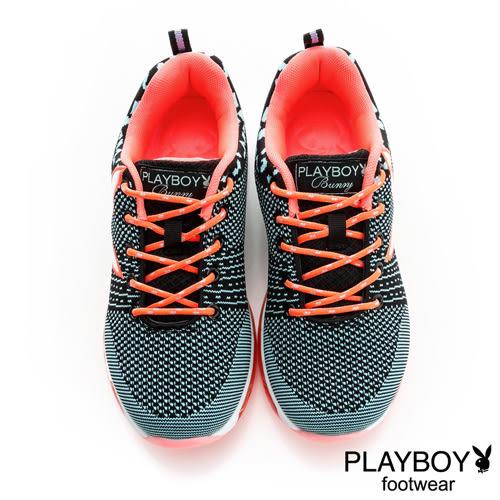 PLAYBOY 編織風 慢跑運動休閒鞋-黑藍