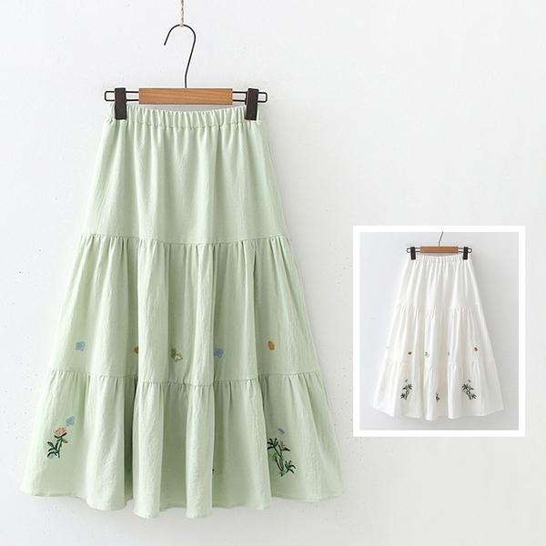 *ORead*文藝復古拼接刺繡鬆緊腰半身裙(2色F碼)