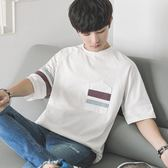 韓版寬鬆5五分袖BF原宿風情侶短袖T恤男日系休閒青少年小清新學生
