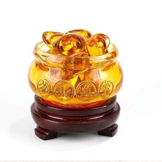 現貨 琉璃聚寶盆黃水晶聚寶盆裝飾工藝品進寶大小號金元寶家居擺件 快速出貨
