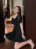 洋裝法式復古裙收腰氣質新款露肩顯瘦裙擺仙女性感黑色洋裝夜店女裝  【全館免運】