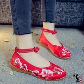 民族風漢服鞋低跟淺口繡花女單鞋布鞋牛筋底媽媽鞋廣場舞蹈鞋 週年慶降價