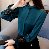 $299出清專區 韓版蕾絲小衫立領寬松喇叭袖雪紡衫長袖上衣