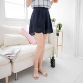 《BA2217》素色打褶雕花造型寬鬆短褲裙 OrangeBear