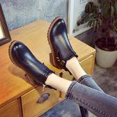 短靴 新款歐美英倫時尚馬丁靴短靴圓頭中跟粗跟防水臺防滑女鞋 『夢娜麗莎精品館』