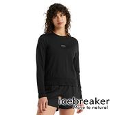 【icebreaker】Meteora Cool-Lite 女 圓領短版長袖上衣GT130『黑』羊毛 吸濕 排汗 抑味 控溫 0A59LE