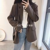 現貨 休閒格紋西裝外套 CC KOREA ~ Q26871