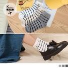 《ZB0846》韓國製。高含棉舒適透氣滿版條紋笑臉長襪 OrangeBear