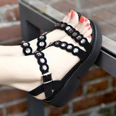 坡跟水鑽涼鞋 厚底露趾大碼33-43碼羅馬涼鞋《小師妹》sm1051