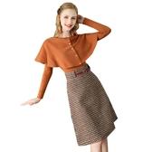 秋冬名媛時尚斗篷針織上衣毛呢半裙套裝連身裙兩件套女Mandyc