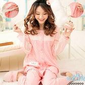 *孕味十足。孕婦裝【CKH858】滿版圓點拼接條紋袖孕婦哺乳(直拉式)睡衣/套裝 粉