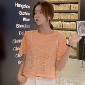 2021夏季新款韓版亮片設計上衣女假兩件套T恤時尚寬鬆顯瘦百搭女