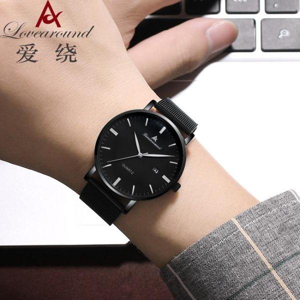 男士手錶超薄時尚潮流防水男錶學生韓版鋼帶石英腕錶 韓慕精品