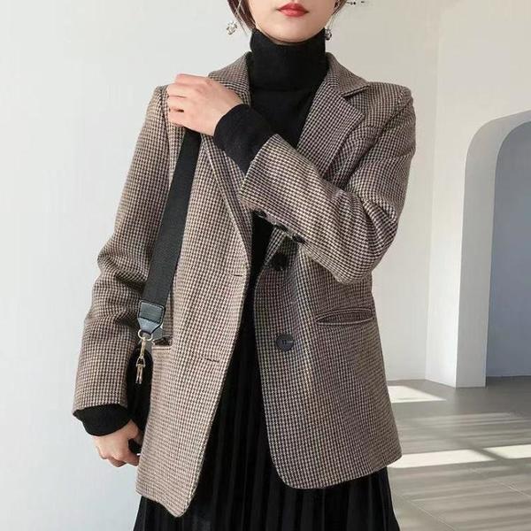 外套 长袖 百搭外套韓國品中長chic千鳥格復古寬松顯瘦毛呢小西裝外套女NE68-A1 胖妞衣櫥