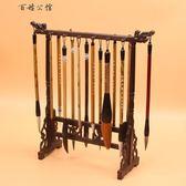 毛筆架筆掛實木簡約復古文房四寶創意新中式書法用品紅木裝飾品擺件筆擱