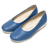 DIANA 百搭原色--俏麗星星鏤空真皮楔型鞋-藍★特價商品恕不能換貨★